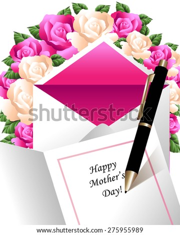 Black ink pen writing Happy Mother's Day  in greeting card surrounded by roses and envelope