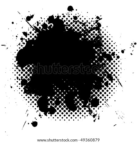 black ink splat with grunge effect and halftone dot fade - stock vector