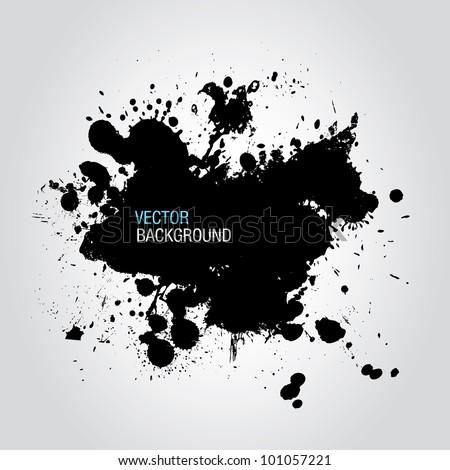Black Ink Splatter Background - stock vector