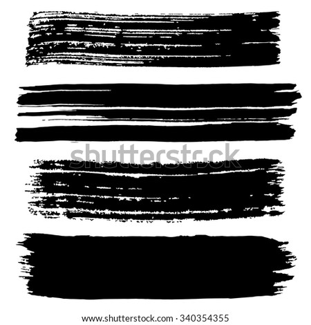 Black ink stroke. Collection of black smears. Grungy brush