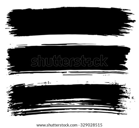 Black ink stroke. Collection of grungy black smears