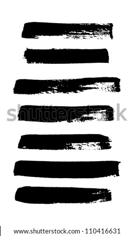 Black ink vector brush strokes collection - stock vector