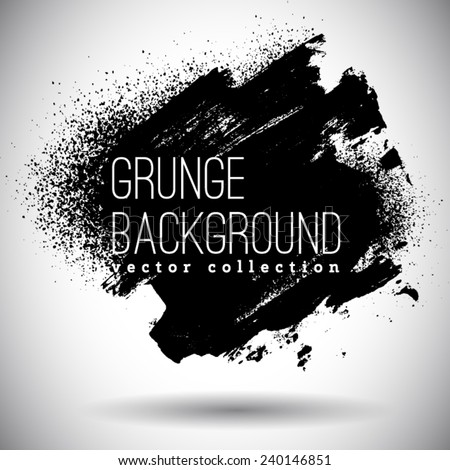 Black ink vector spray stains - stock vector