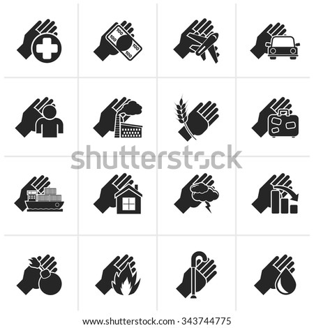 Black Insurance and risk icons - vector icon set - stock vector