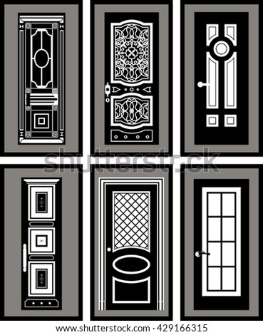 gray interior doors collection front doors on gray background stock vector 392782024