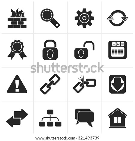 Black Internet and web site icons - vector icon set