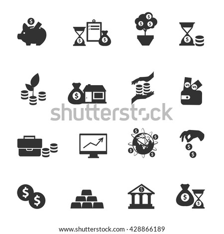 Black investment icon set equipments of bank and everything that is connected with money and investment of funds vector illustration