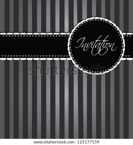 black invitation with frame with sample text and borders - stock vector