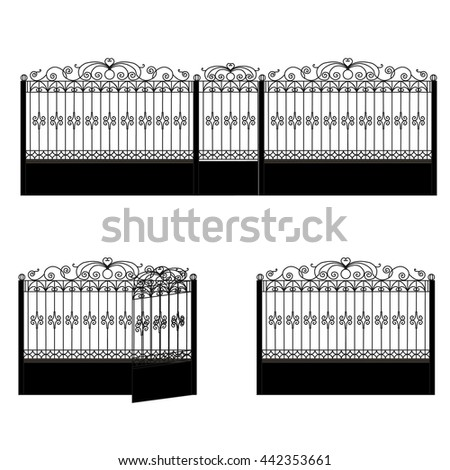 Black iron fence with open and closed doors on white background. - stock vector