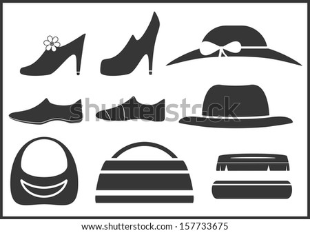 black isolated clothes objects and accessories  - stock vector