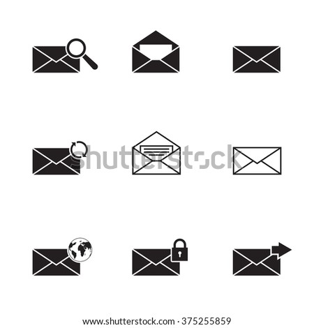 Black isolated email icons set  - stock vector