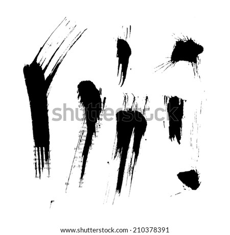 Black isolated ink blots and strokes with messy drops - stock vector
