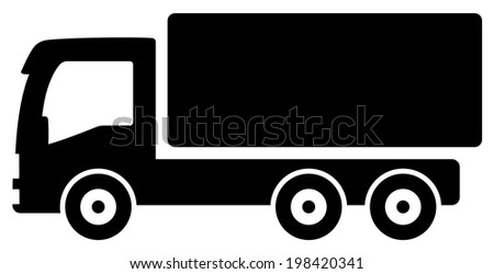 black isolated lorry silhouette - icon for cargo delivery - stock vector