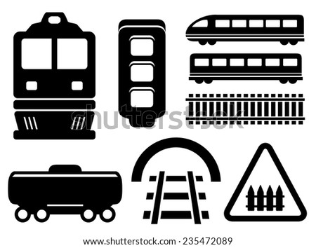 black isolated objects for rail road icons set - stock vector