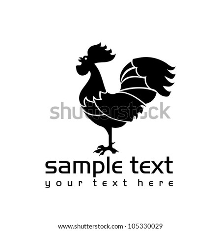 black isolated rooster on white background - stock vector