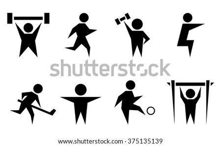 black isolated silhouette with sports and athletics icon set