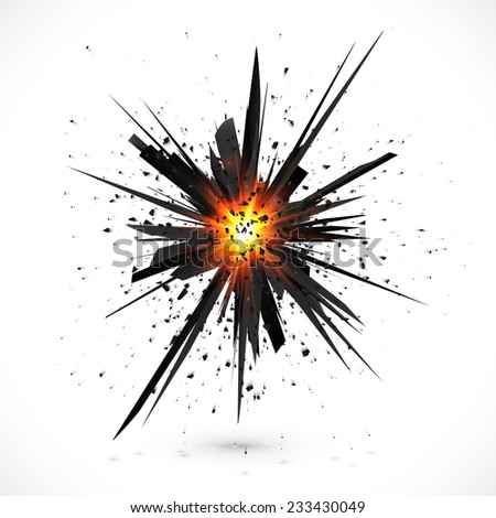 Black isolated vector explosion with particles - stock vector
