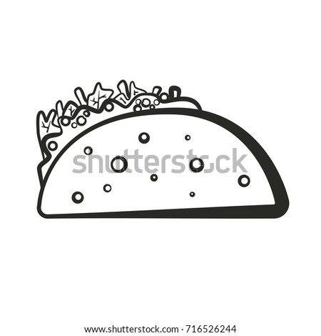 Black Isolated Vector Outline Taco Icon Stock Vector 716526244