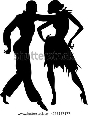 Ballroom Dancing Silhouette Vector Black Isolated Vector ...