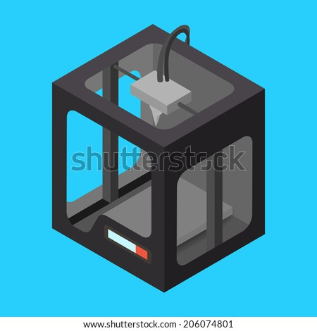 Black Isometric 3D Printer on a Blue Background. Vector Illustration - stock vector