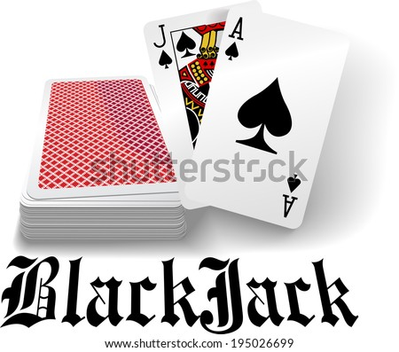 Black jack hand in spades as casino gambling playing card game - stock vector