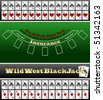 Black Jack table and card set - stock photo