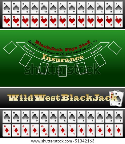 Black Jack table and card set - stock vector