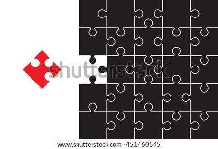 black jigsaw pieces  - stock vector