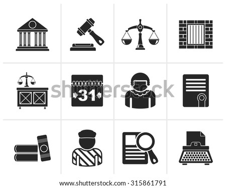 Black Justice and Judicial System icons - vector icon set - stock vector