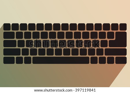Black keyboard without symbols. Modern input device. Computer equipment. Tinting effect
