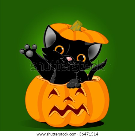 Black kitten jumping out from a Halloween pumpkin. Background is separate - stock vector