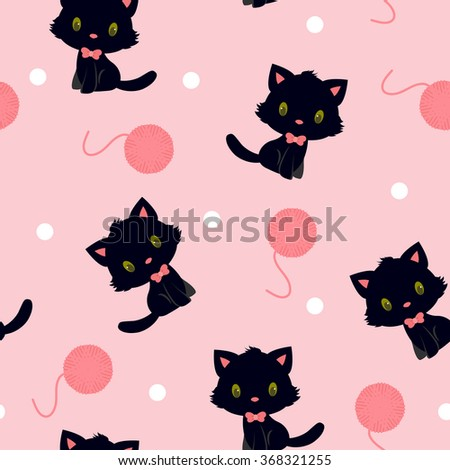 Black kitten with pink knitting yarn seamless pattern - stock vector