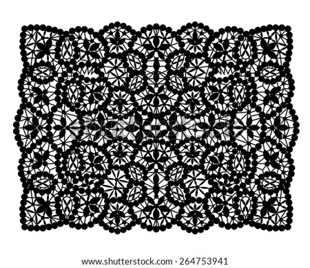 Black Lace Floral Pattern Seamless Pattern Stock Vector