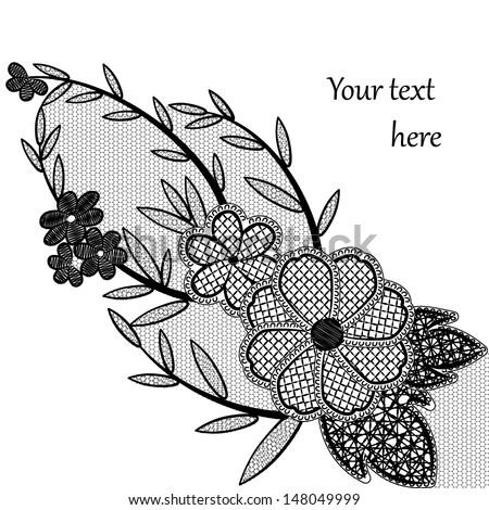 Black lace floral pattern. Vector illustration. - stock vector