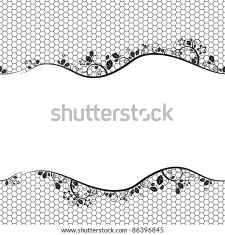 black lace on white background. Vector seamless background