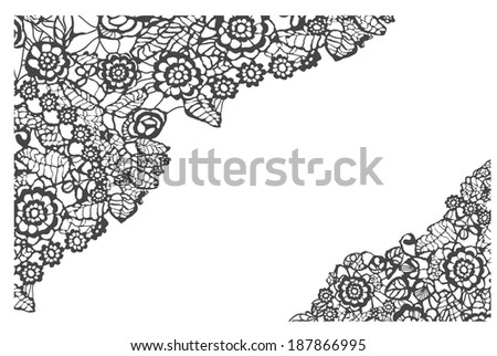 Black lace vector design. Ornamental flowers. Floral background. - stock vector