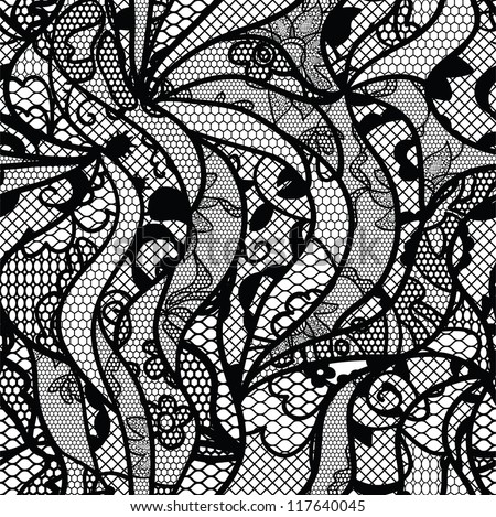 Black lace vector fabric seamless pattern with lines and waves - stock vector
