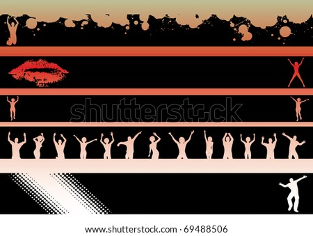 Black Landscape Graphic Strips with Dancers and Lips.   Can be used seperately or together  (Transparent vectors so it can be overlaid onto other graphics and images) - stock vector