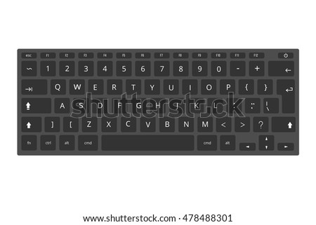 Black laptop, computer keyboard vector template isolated on white background. Illustration of control panel for pc