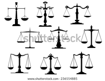 Black law scale icons with balance position isolated on white background - stock vector