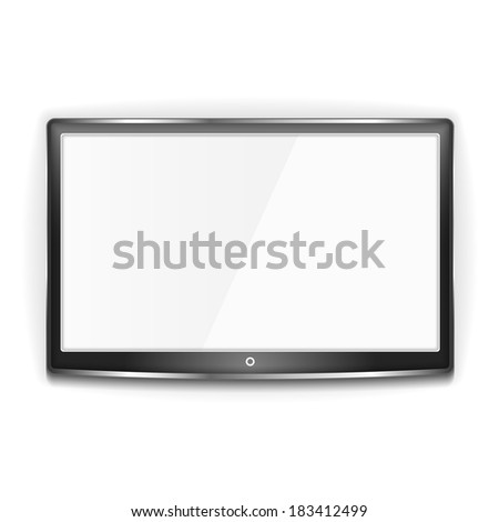 Black LCD TV with metallic frame and white screen on white background, vector eps10 illustration - stock vector
