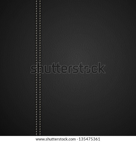 Black Leather background with white stitches - eps10