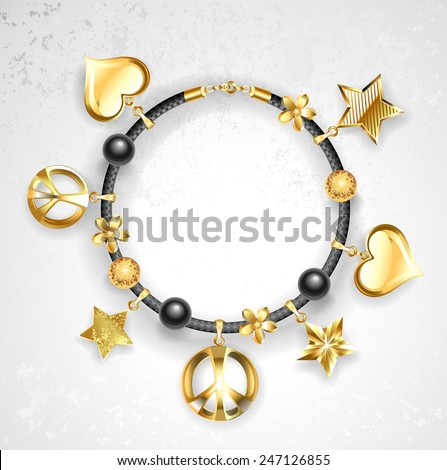 black leather bracelet decorated with golden stars, golden hearts, peace symbols.  - stock vector