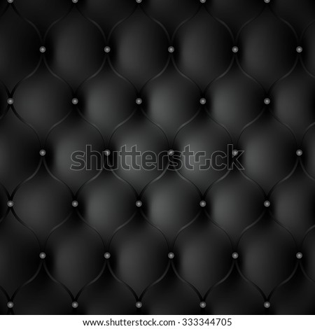 Black leather photorealistic background. Backdrop texture. - stock vector