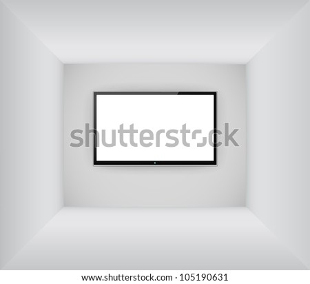 Black led or lcd tv hanging on the blank room background - stock vector