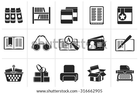 Black Library and books Icons - vector icon set - stock vector