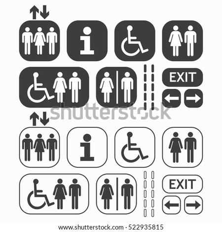 Black line and silhouette Man and Woman public access icons set on white  background. Disabled Toilet Sign Stock Images  Royalty Free Images   Vectors