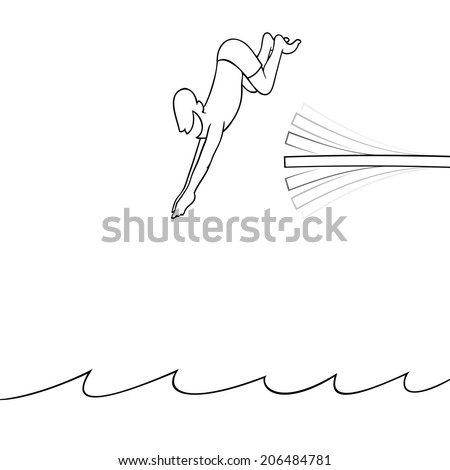 Black line art illustration of a man diving off a diving board into the water  - stock vector