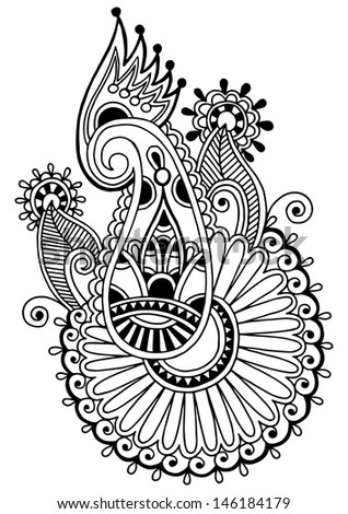 black line art ornate flower design, ukrainian ethnic style, autotrace of hand drawing - stock vector