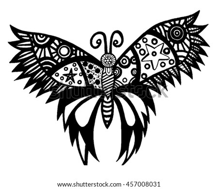 Black line butterfly for tattoo, coloring book for adult and kids isolated on the white background